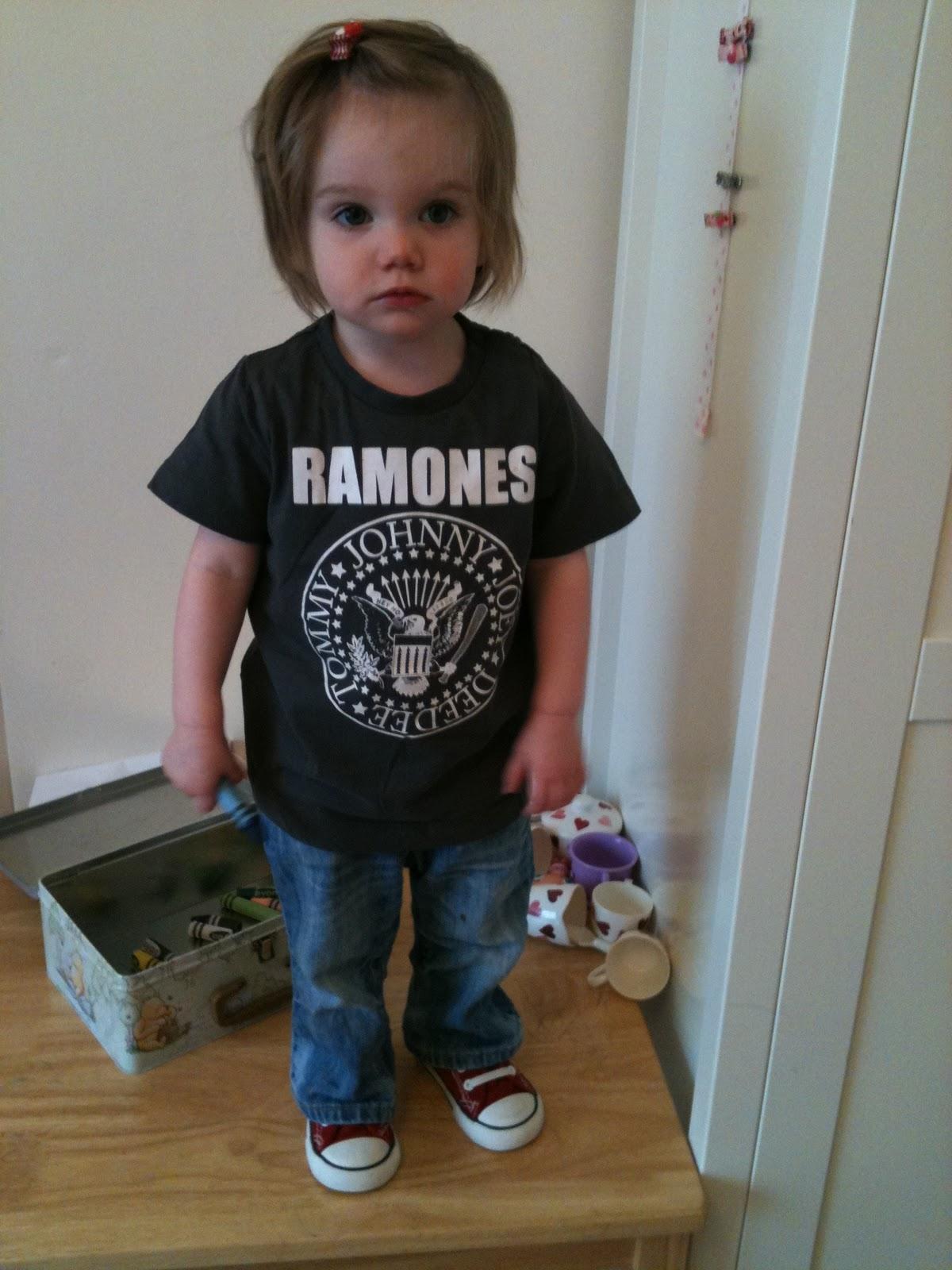 Child named Daisy wearing Ramones t-shirt