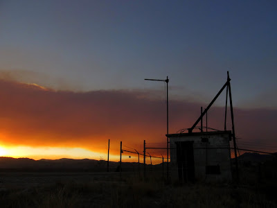 Sunset and abandoned radio building on Wood Hill