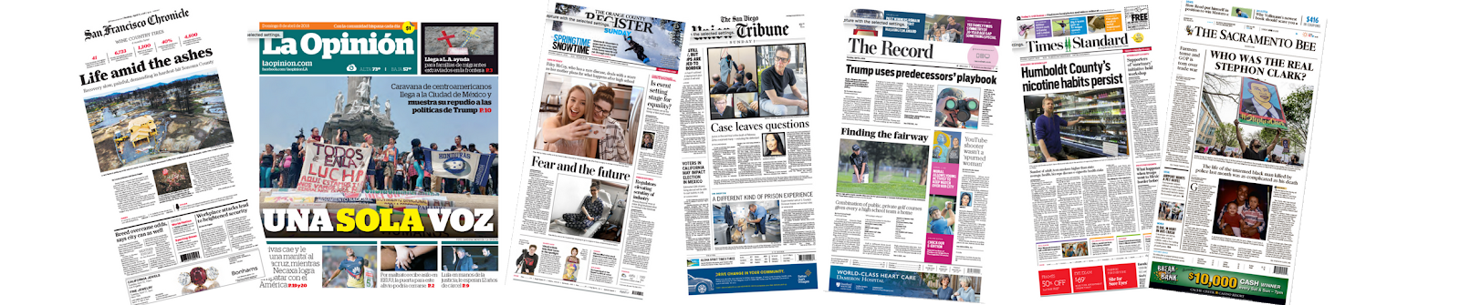 Examples of various newspapers with different for headings.