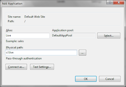 Add IIS Application