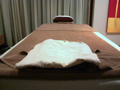 Massage table at the spa at the Alila hotel in Siem Reap Cambodia