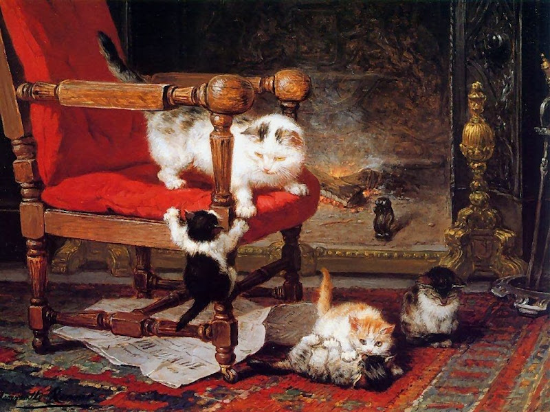 Henriette Ronner-Knip - In Front of the Chimney