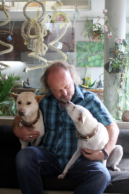 Bill Bailey and two of his dogs