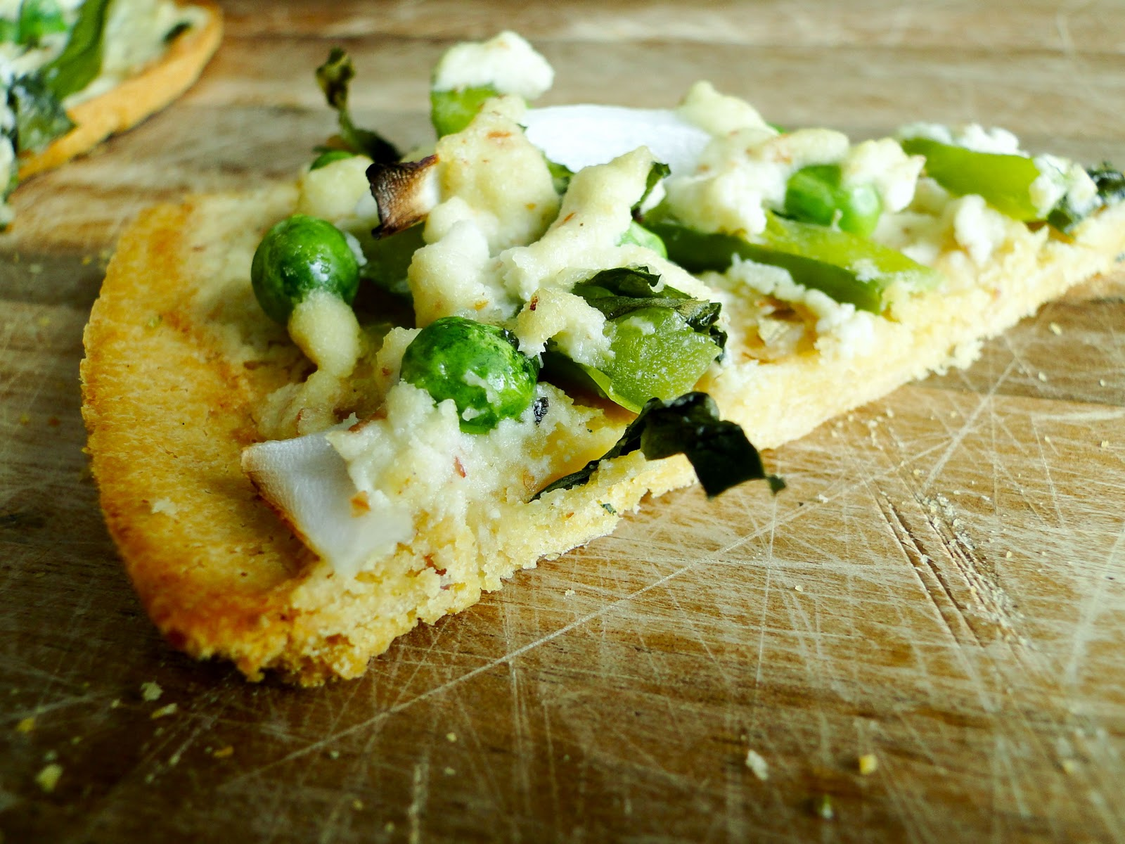 Sketch-Free Eating: Green Pea Alfredo Socca Pizza (Vegan, GF)