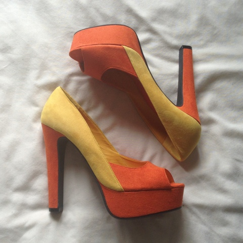 Sleeh Orange Colourblock Heels