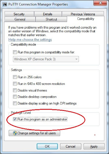 Run Putty connection manager with administrator privileg eon Windows 7