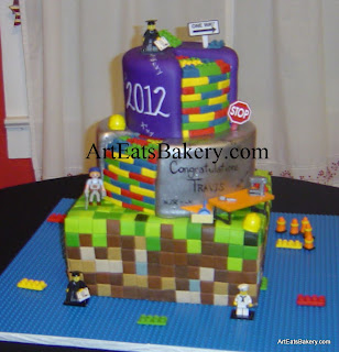 Mindcraft and legos unique creative birthday or graduation cake design