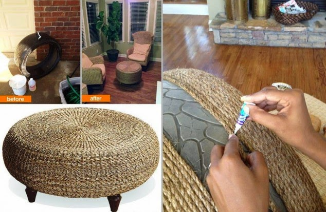 Com um pneu, uma furadeira, uma parafusadeira, cola quente e corda é possível criar um puff  decorativo lindo!