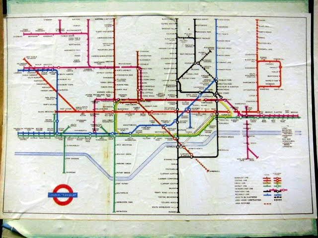 Old tube map in the abandoned Aldwych tube station in London