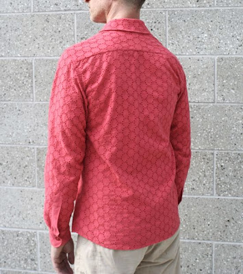 salmon cotton eyelet shirt