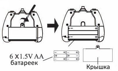 Установка батареек в пульт управления