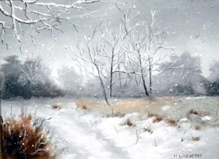 """First Snow"" by Marianne Wiesehan. Oil. $250.00"