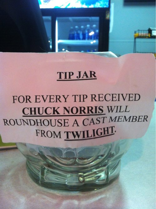 Photo of a tip jar with a funny Chuck Norris saying