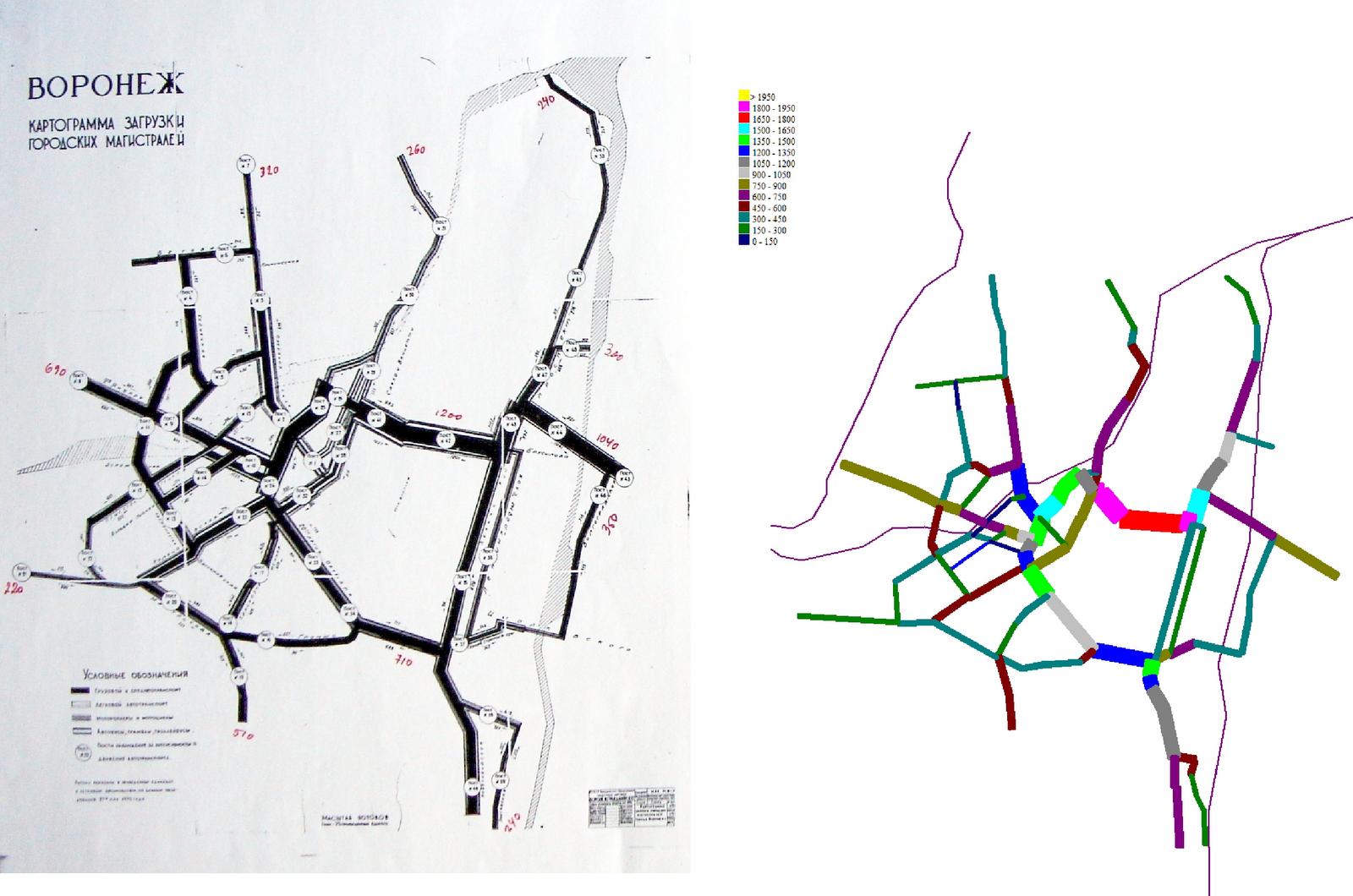 2. Схема № 2. Сопоставление расчётных автомобилепотоков (справа) с картограммой автомобилепотоков по обследованию на МУДС (слева)