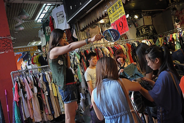 selling clothes at Dongmen in Shenzhen, China
