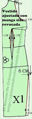 Delantero de vestido falda lápiz con sisa revocada