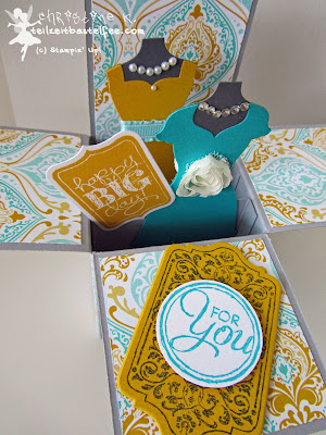 stampin up, chalk talk, tafelrunde, dress up, kleiderduo, card in a box, schachtelkarte
