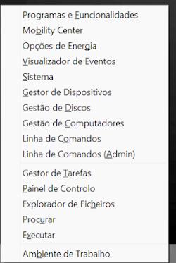 Janela atalho Windows 8 Win+X
