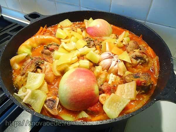 как приготовить баранину с овощами в таджине