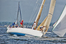 J/120 Rocket Science- sailing fast off start in Vineyard Race
