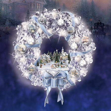 Thomas Kinkade Holiday Brilliance Blue and White Pre-lit Crystal Wreath