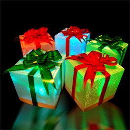 9 Christmas Holiday LED Light Up Gift Box Ornaments (slow color change)