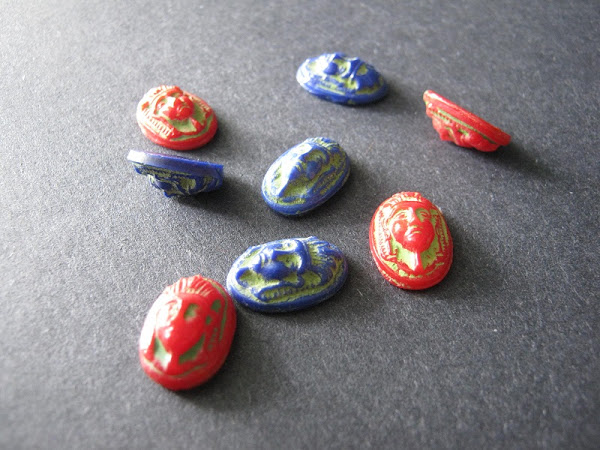 Vintage Czech Glass Egyptian Cabochons