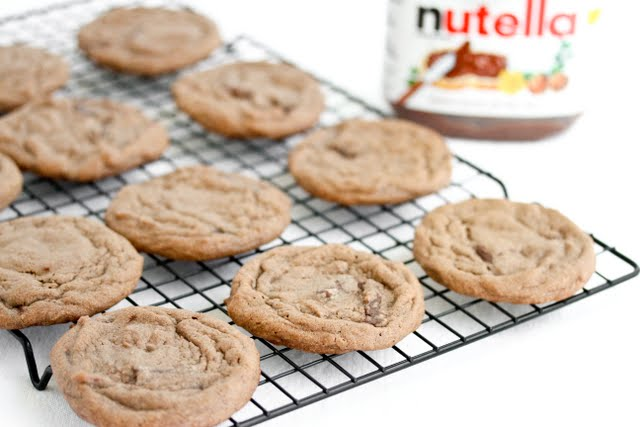 photo of a Double Nutella Chunk Cookies on a baking rack