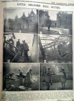 Press coverage of the fire at Little Shelford Hall. Built 1851. Burnt down 1929.