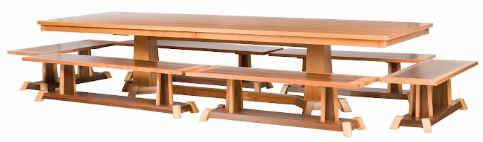 Turin Dining Table in Natural Cherry, and Turin Benches in Natural Cherry and Walnut