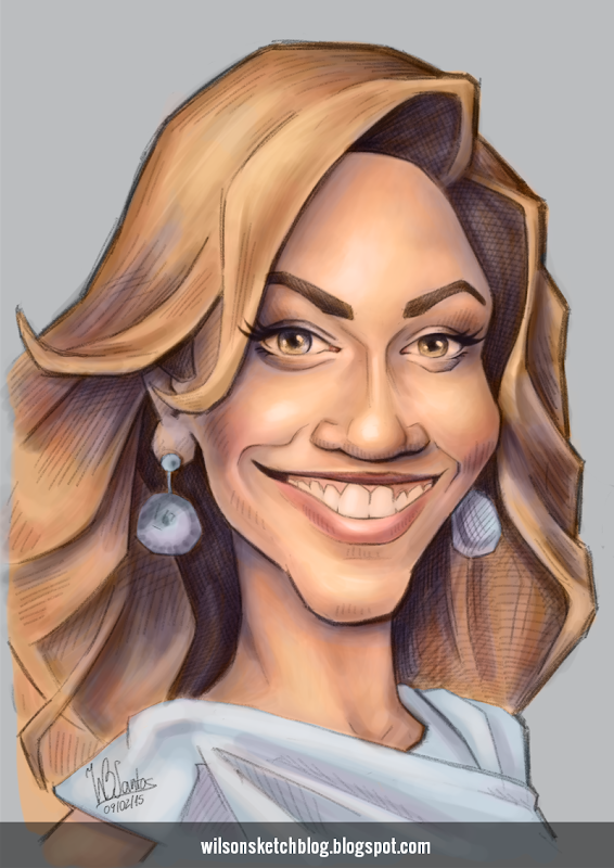 Caricature sketch of Beyoncé Knowles (color).