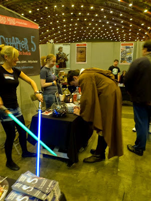 Jedi cosplayer with Light Sabers at London YA Lit Con (YALC)