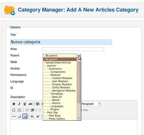 Joomla 1.6 categorie