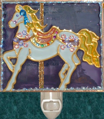 carousel merry go round horse with jewels and sparkles