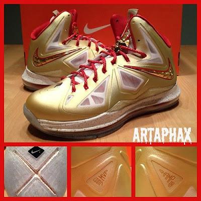 nike lebron 10 pe championship gold 4 02 Nike LeBron X Championship Gold Swoosh Alternate Version