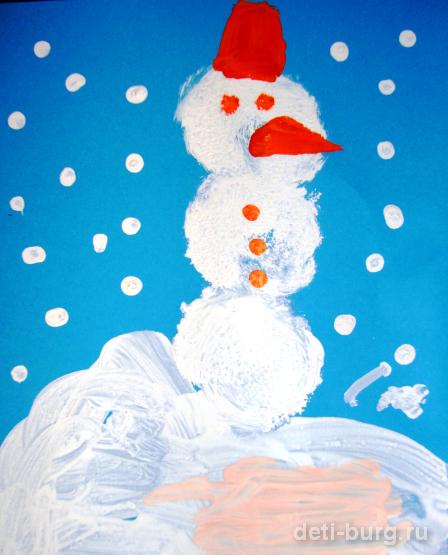 рисуем снеговика