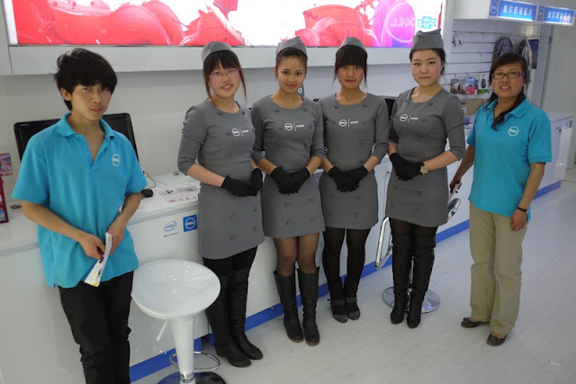 employees in uniforms at Dell store in Yinchuan, China