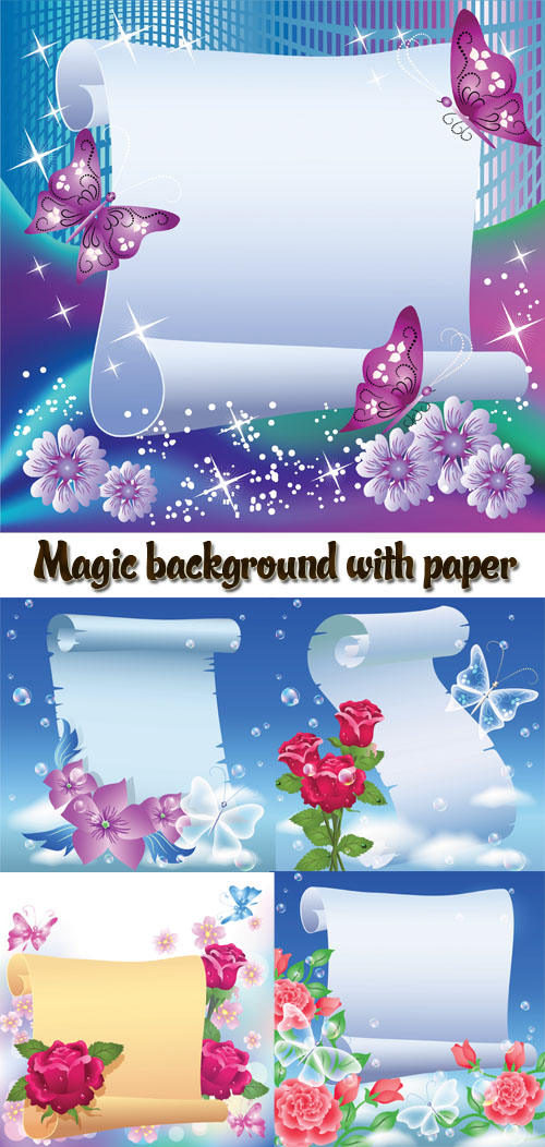 Stock: Magic background with paper