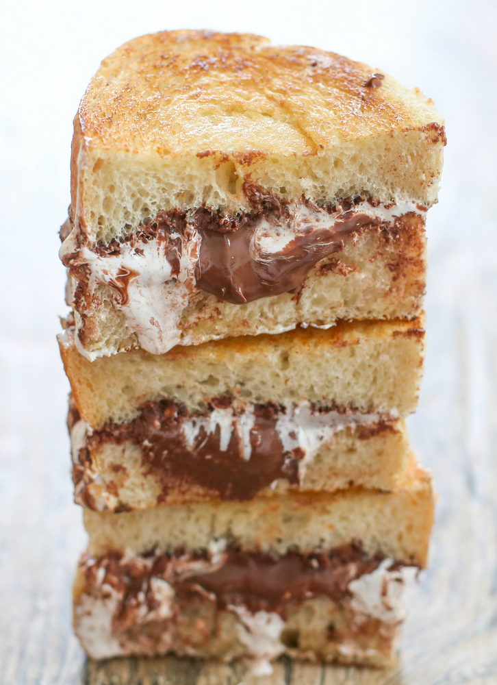 close-up photo of Nutella S'more Sandwiches