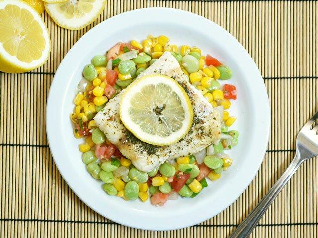 succotash and fish