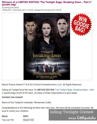 InSing Twilight Breaking Dawn (Part II) Goodie Bag