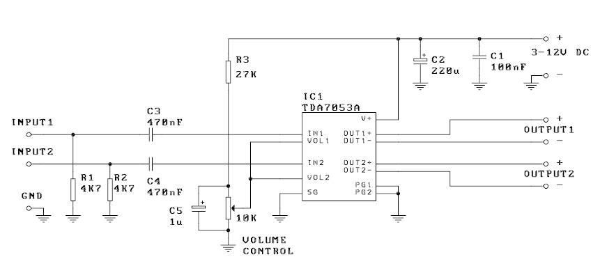 1000 Circuit: Stereo 1W audio amplifier with DC volume control