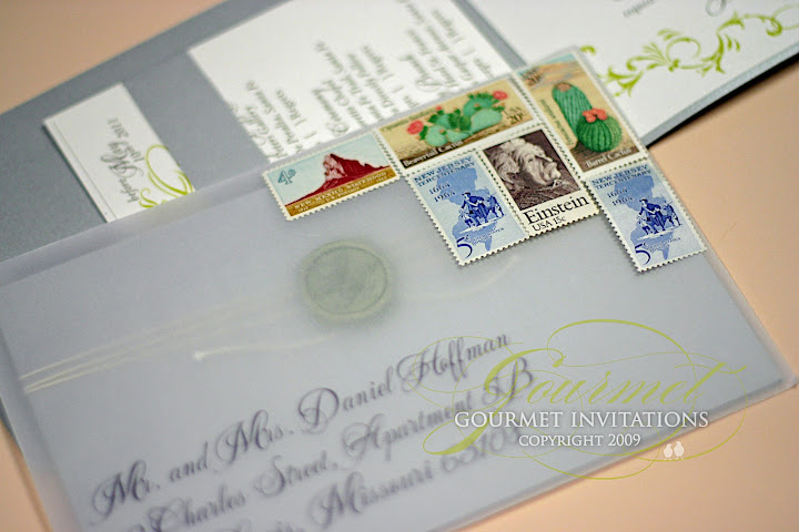 Laura + Adam: Custom Wax Seal Invitations - Gourmet Invitations