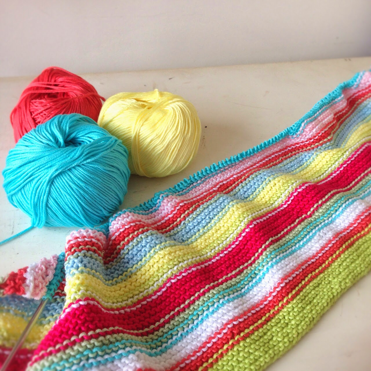 A World of Imagination: Yarn Along.......Striped Garter Stitch Baby Blanket.