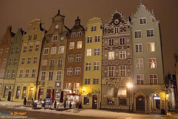 gdańsk nocą - kamienice na Długiej