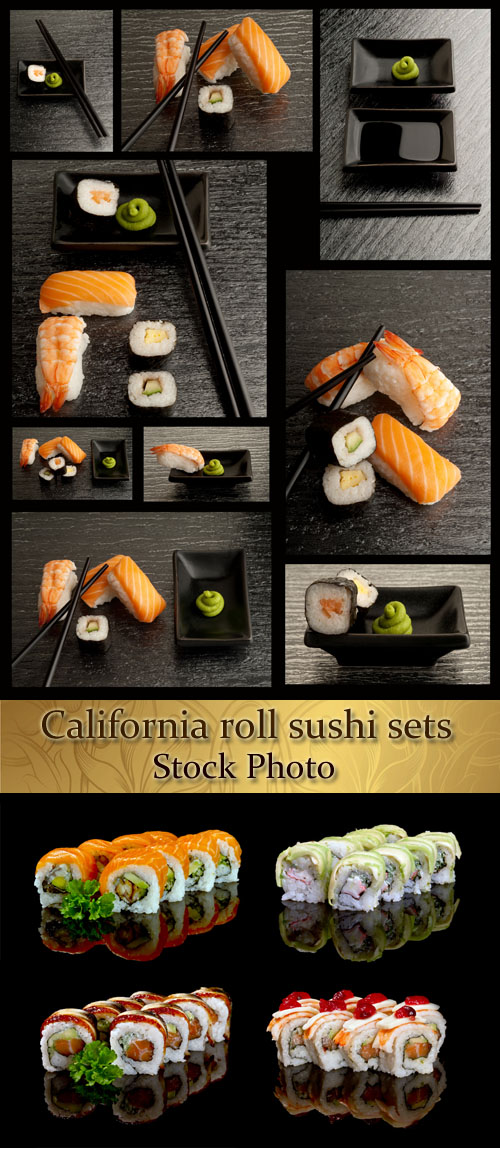 Stock Photo: California roll sushi sets