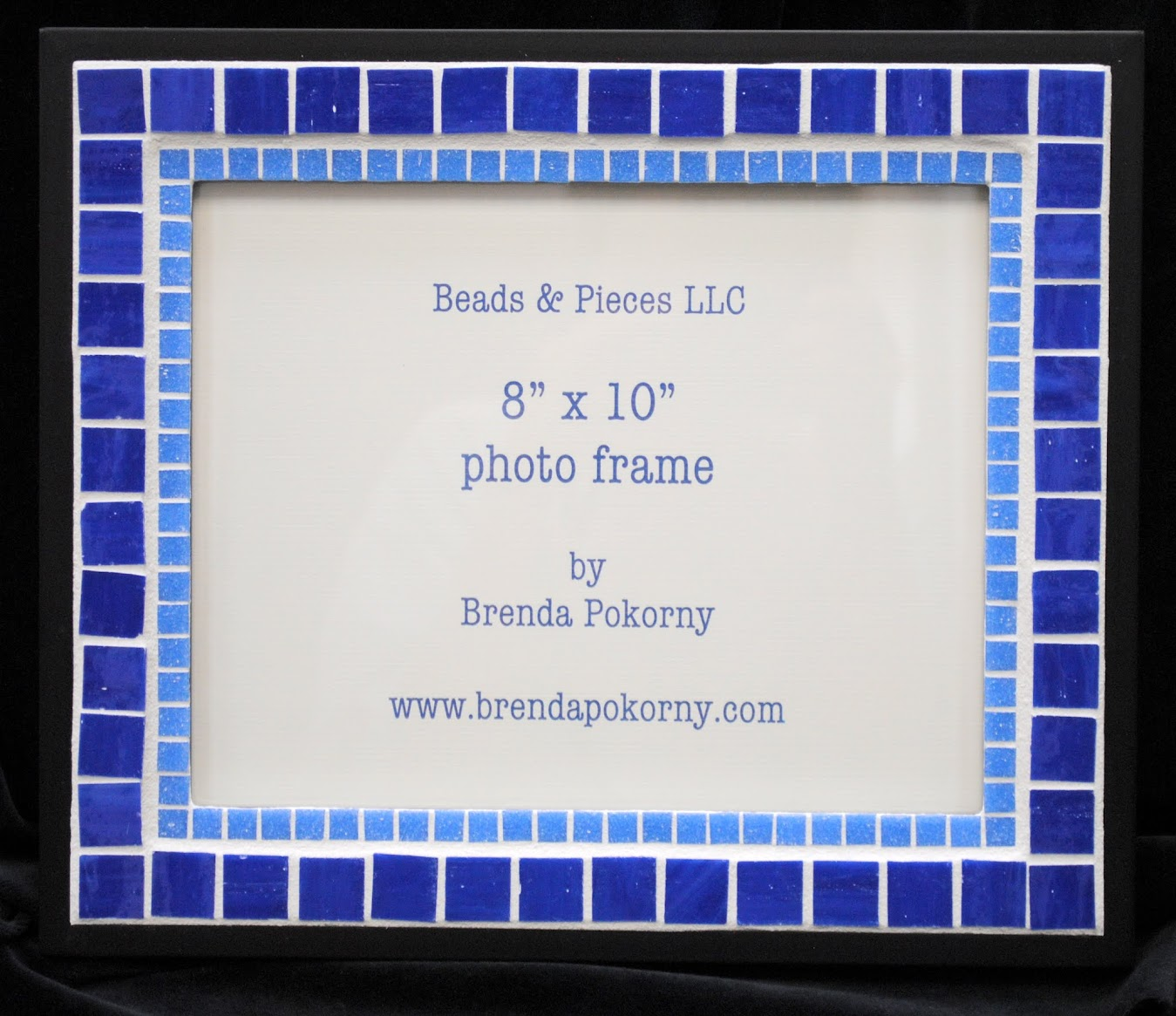"Two Bright Blues on Black 8"" x 10"" Mosaic Photo Frame MOF1428"