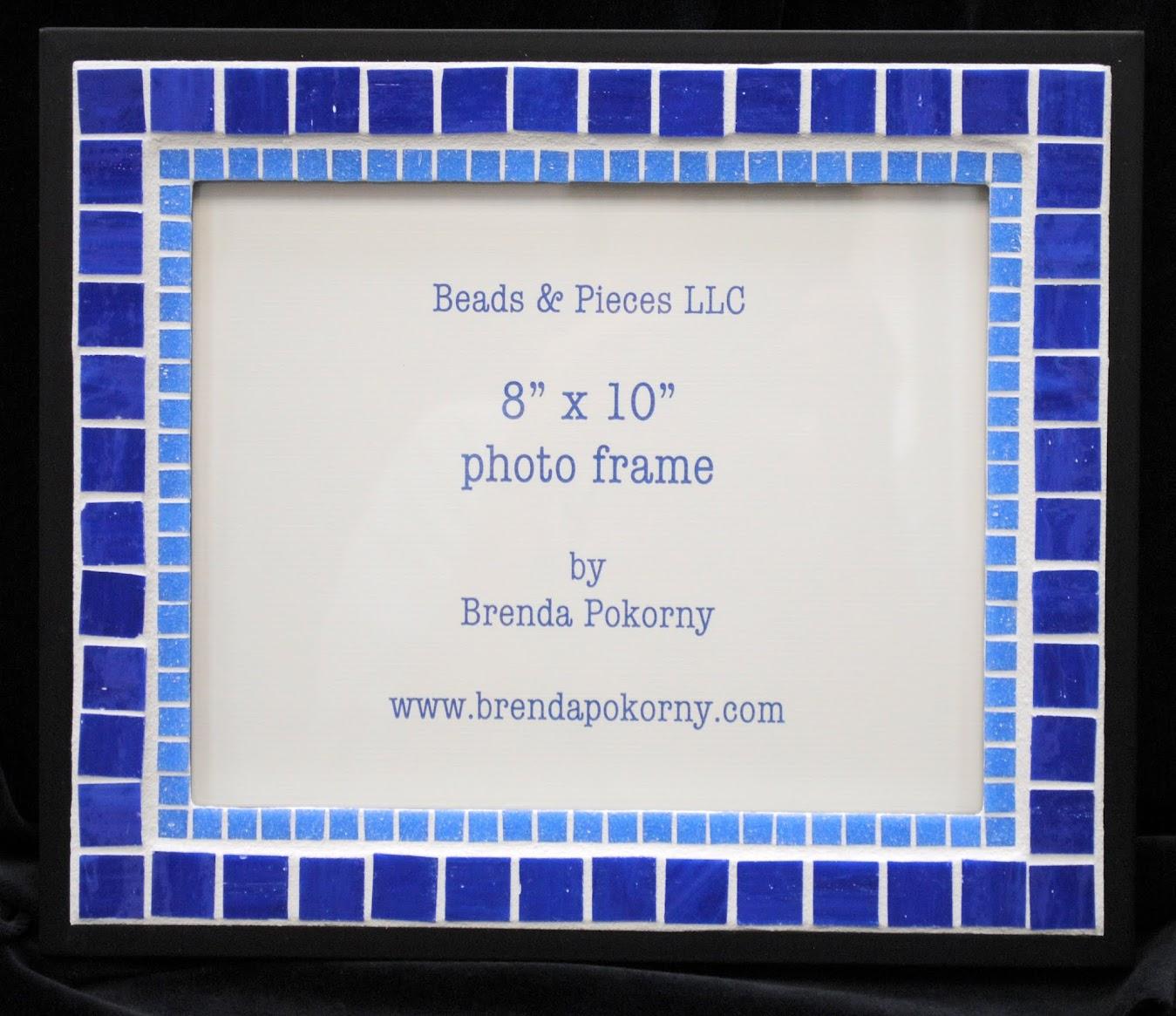 "Two Bright Blues on Black 8"" x 10"" Mosaic Photo Frame MOF1428"