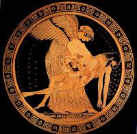 Ηώς, ανασηκώνει το σώμα του νεκρού γιου της, του Μέμνονα, του βασιλιά των Αιθιόπων, που τον σκότωσε στην Τροία ο Αχιλλέας,Eos, lifts the body of the deceased son, Memnon, king of the Ethiopians, who was killed by Achilles at Troy