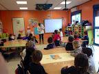 Plan de Aprende a Sonreir.Carmen, la coordinadora del Plan, enseñando a los alumnos/as el cepillado de dientes